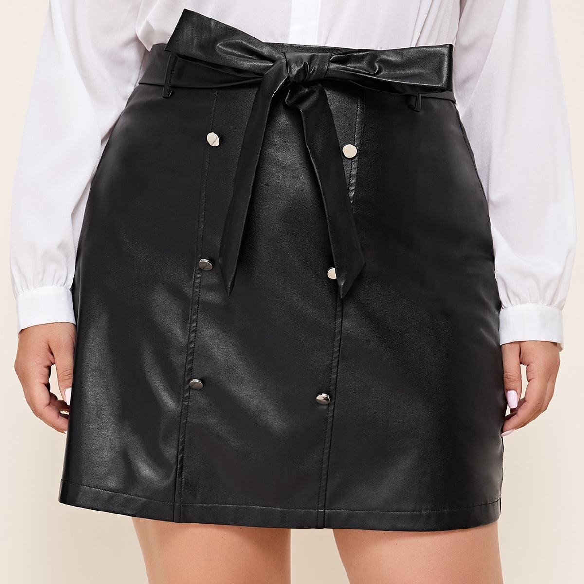 SHEIN / Plus Double-breasted Belted PU Leather Skirt
