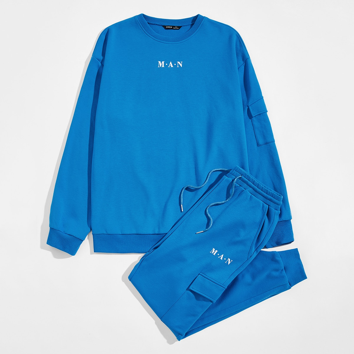 Мужской пуловер и джоггеры с текстовым принтом от SHEIN