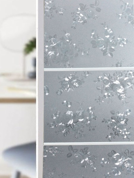 Floral Pattern Waterproof Opaque Glass Sticker