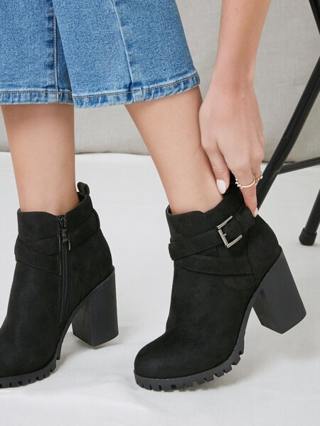 Buckled Faux Leather High Block Heel Boots