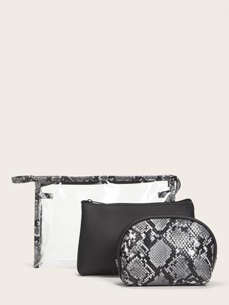 3pcs Snakeskin Makeup Bag