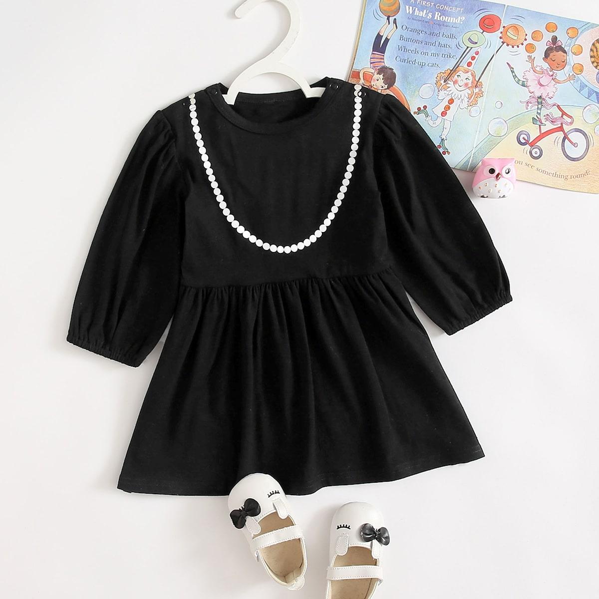 shein Casual Baby-jurk Voorpand met Knoopjes
