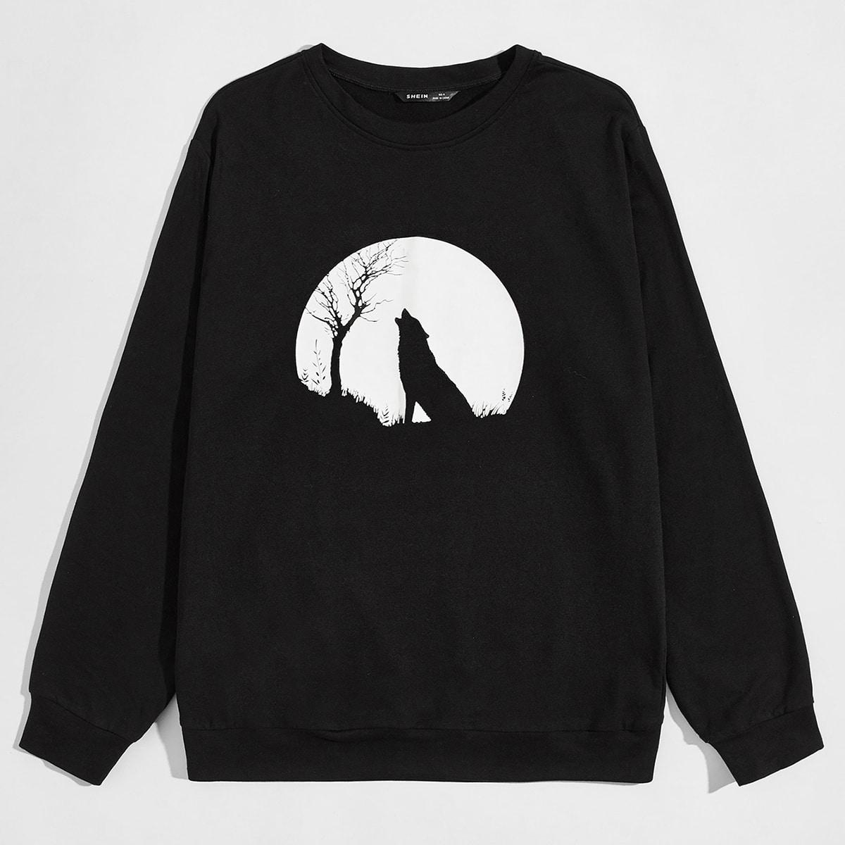 Мужской пуловер с принтом