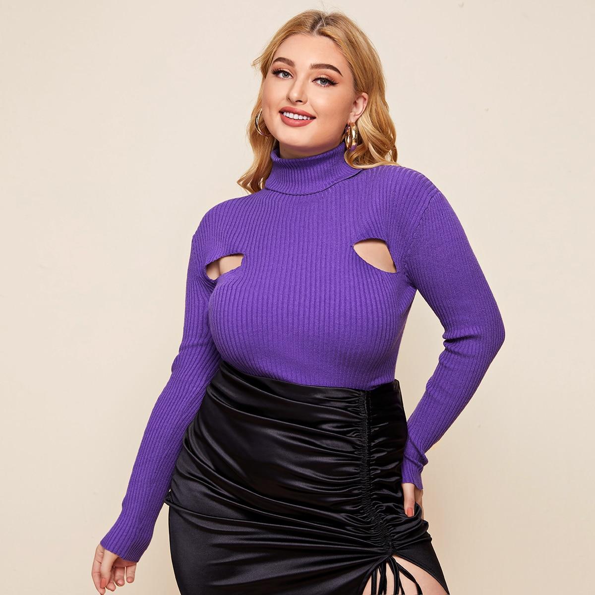 SHEIN / Pullover mit Rollkragen und Ausschnitt