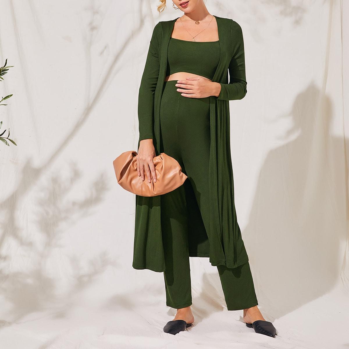 Однотонное пальто и брюки с майкой для беременных от SHEIN