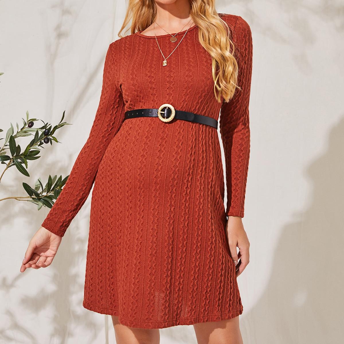 Однотонное трикотажное платье без пояса для беременных от SHEIN