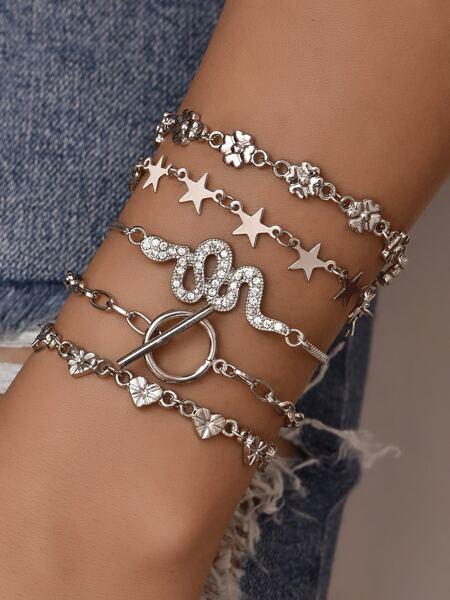 5pcs Heart & Star Decor Chain Bracelet