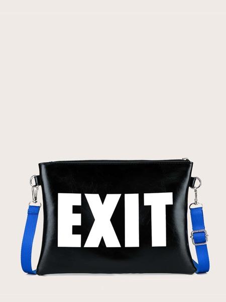 Letter Graphic Zip Up Clutch Bag