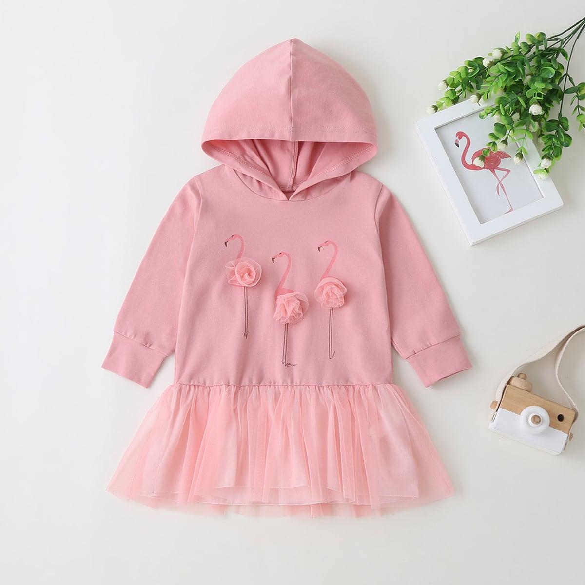 shein Schattig Flamingo Baby-jurk Appliques