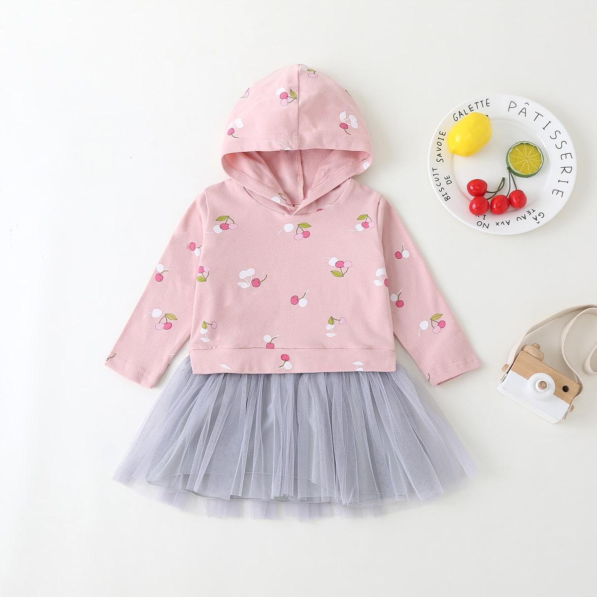 shein Schattig Fruit & groenten Baby-jurk Contrast doorschijnend
