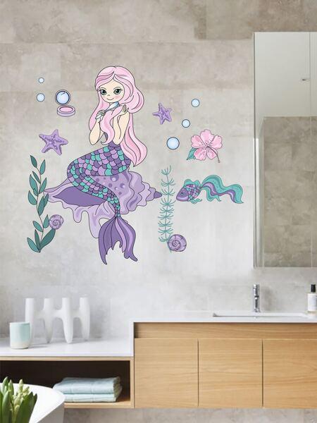 Cartoon Mermaid Print Wall Sticker