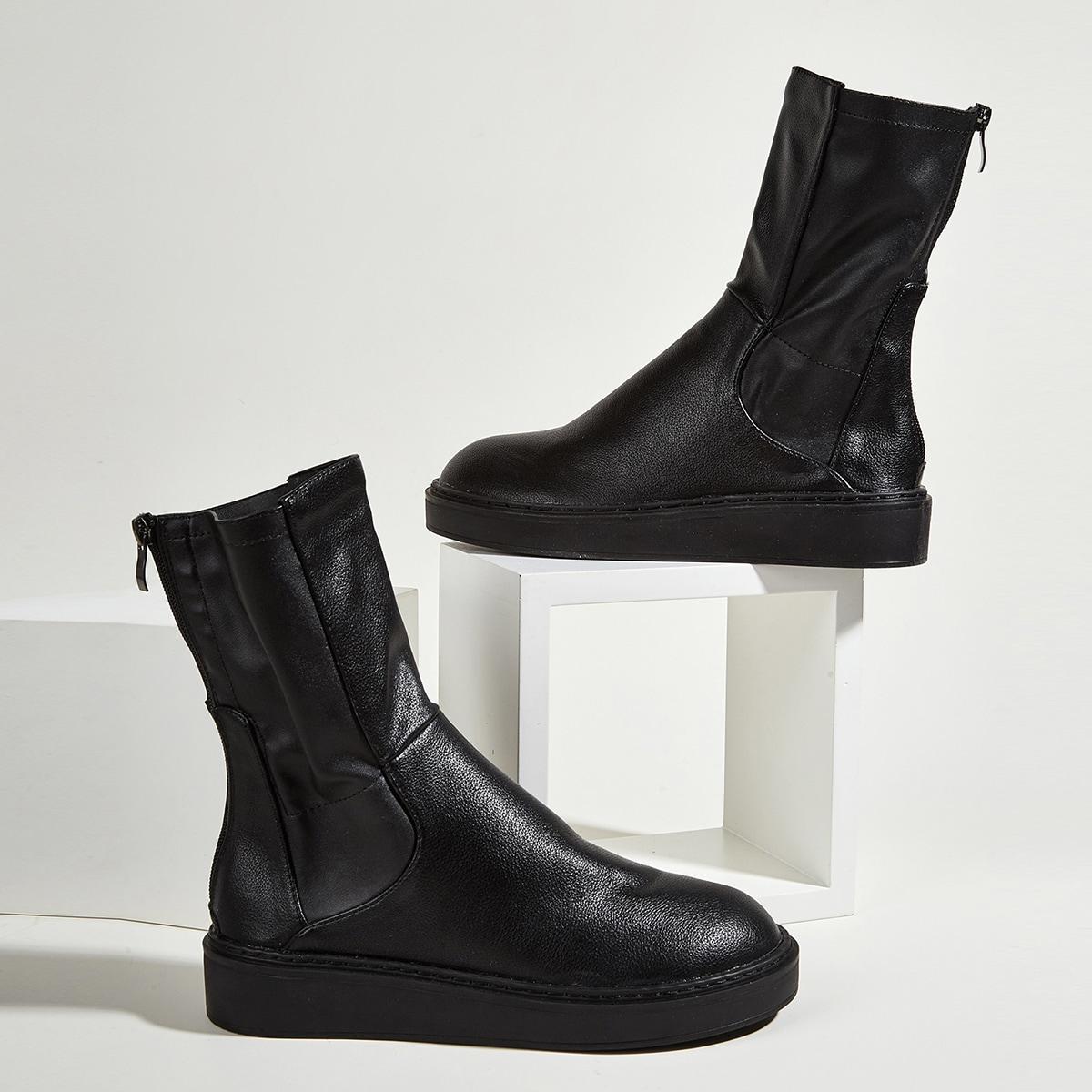 SHEIN / Minimalistische Stiefel mit Reißverschluss hinten