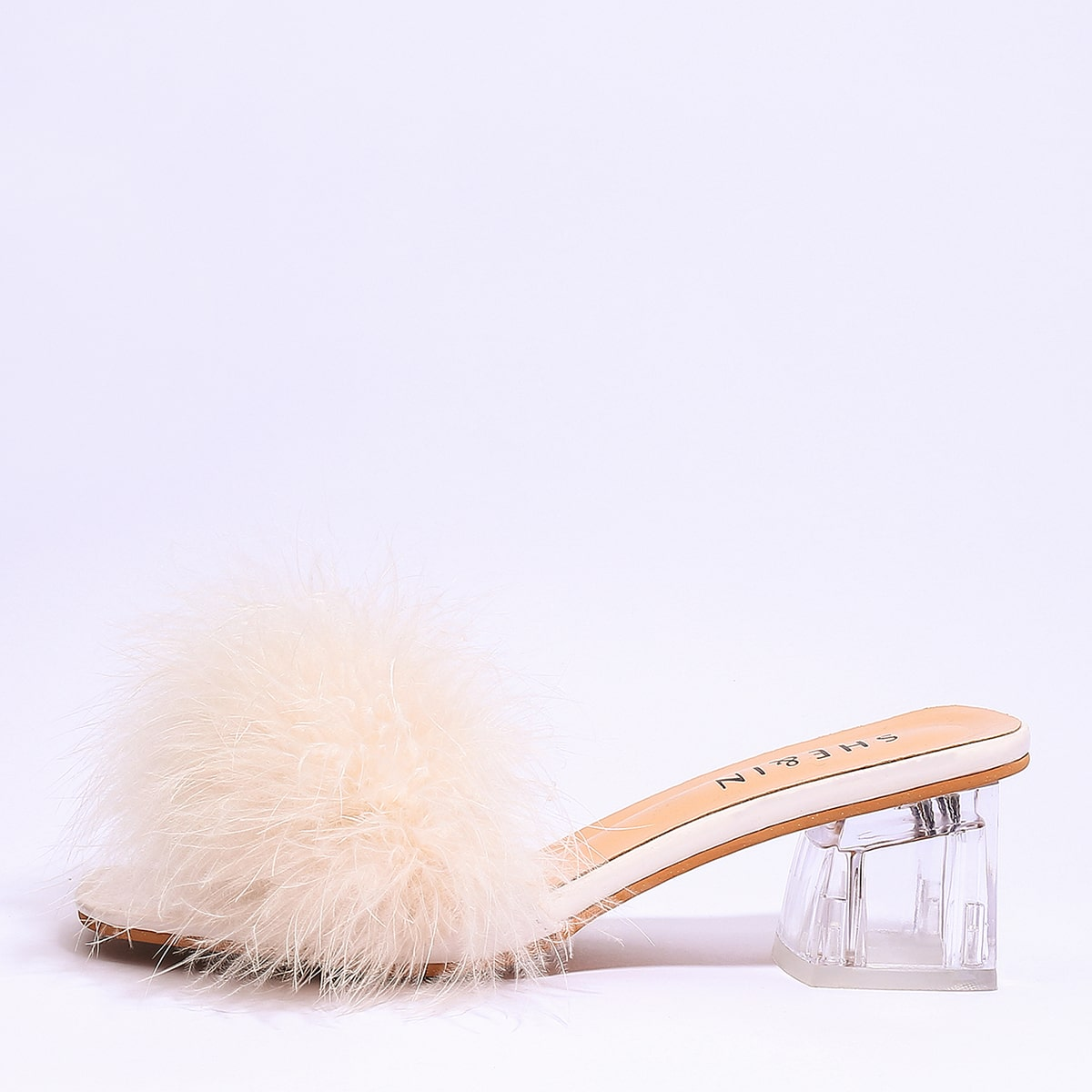SHEIN / Clear Chunky Heeled Faux Fur Mules