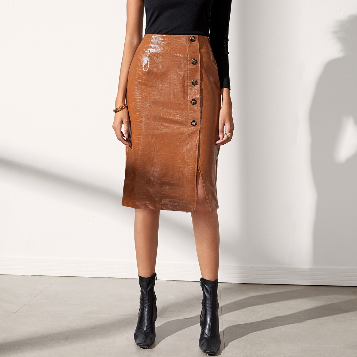 SHEIN / Button Up Crocodile Embossed PU Leather Skirt
