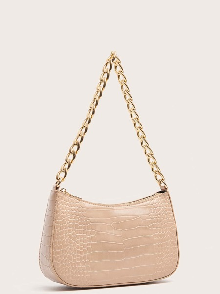 Croc Embossed Chain Baguette Bag