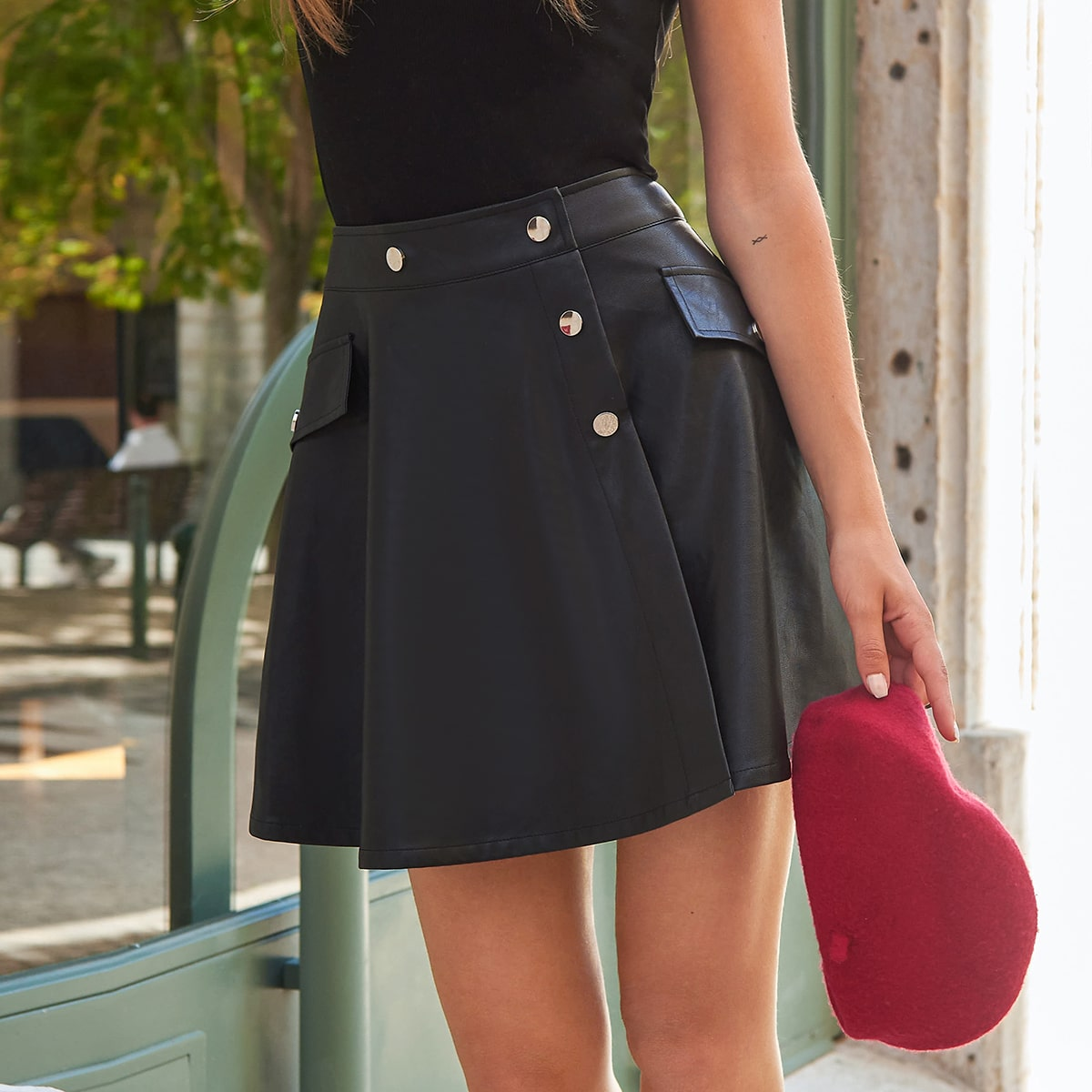 SHEIN / Button Front Flap Detail PU Leather Skirt