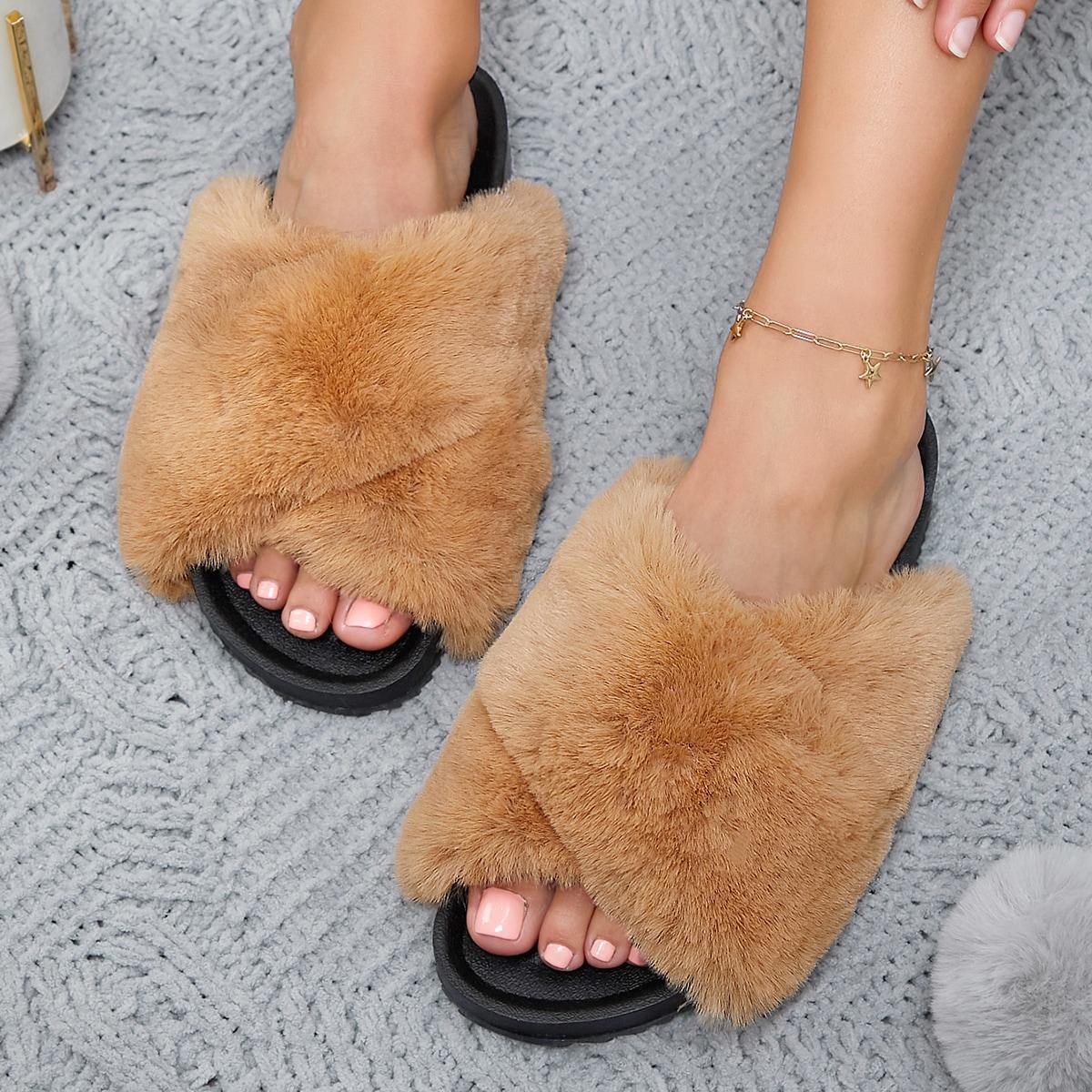 SHEIN / Vegan Fur Crisscross Open-Toe Slipper Sandals