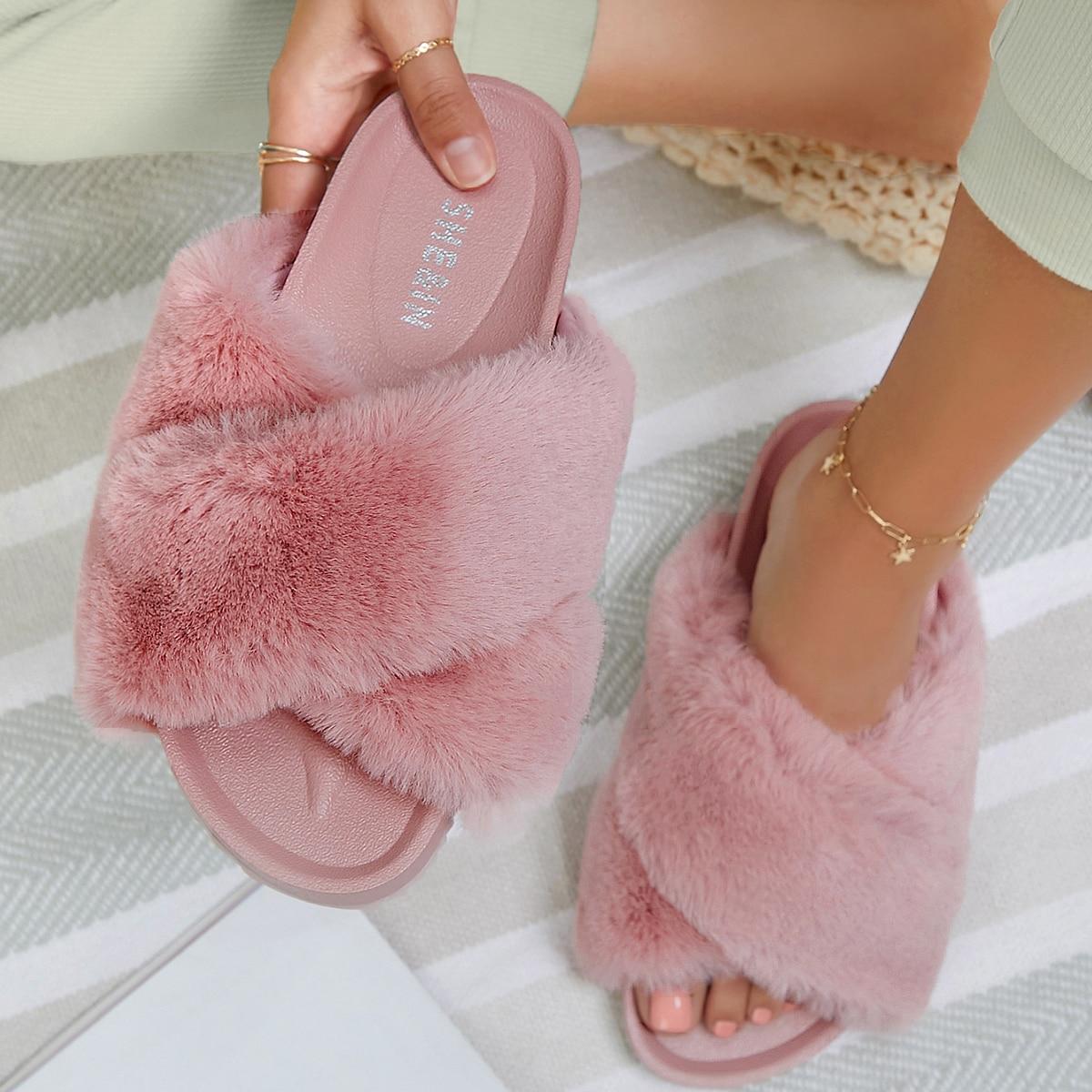 SHEIN / Faux Fur Crisscross Vamp Slide Sandals