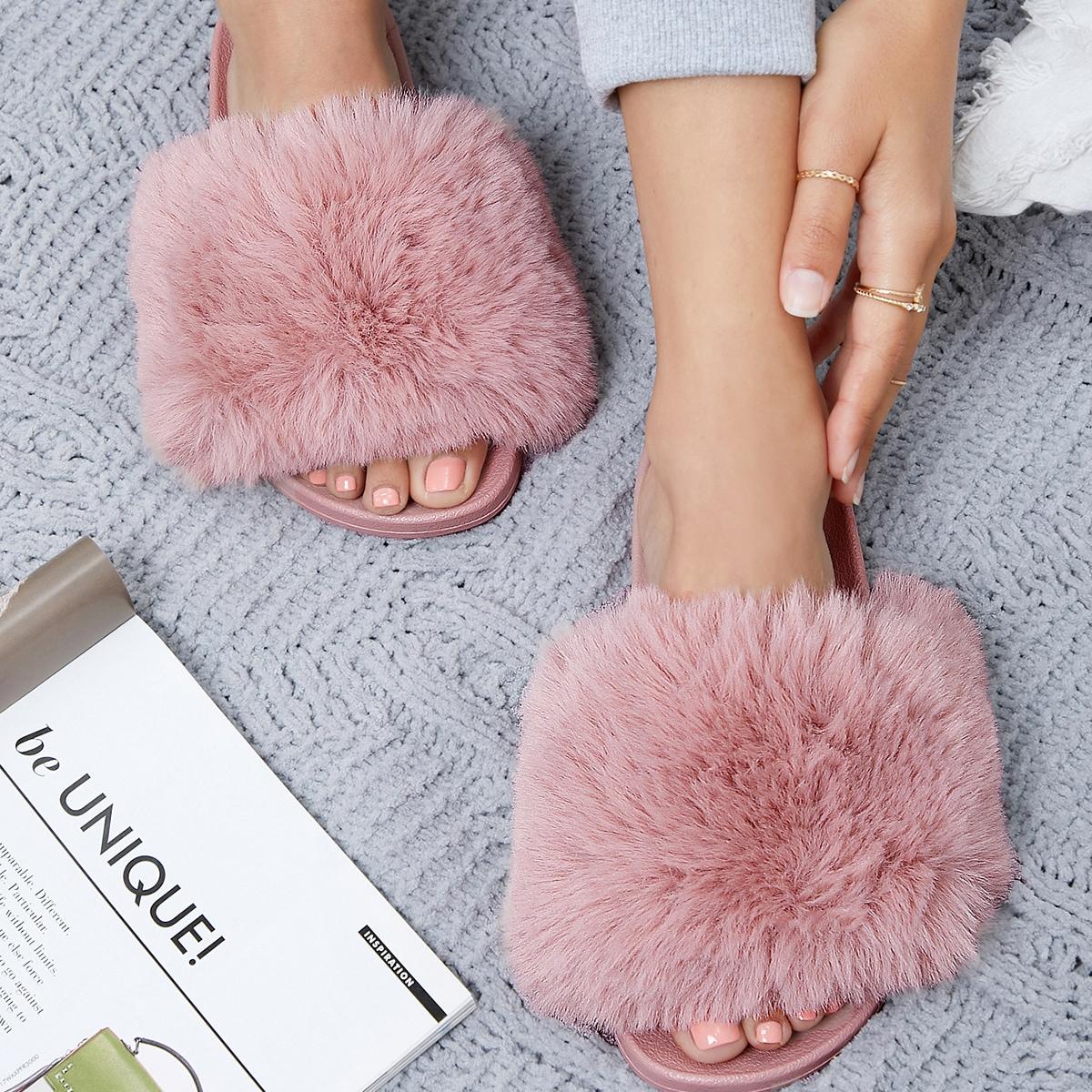 SHEIN / Faux Fur Vamp Open-Toe Slide Sandals