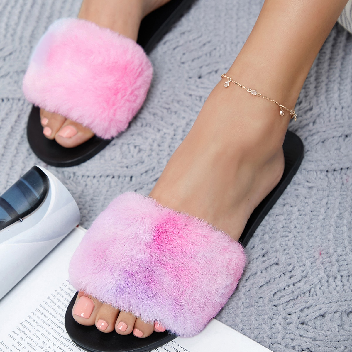 SHEIN / Multicolored Fuzzy Faux Fur Slide Sandals