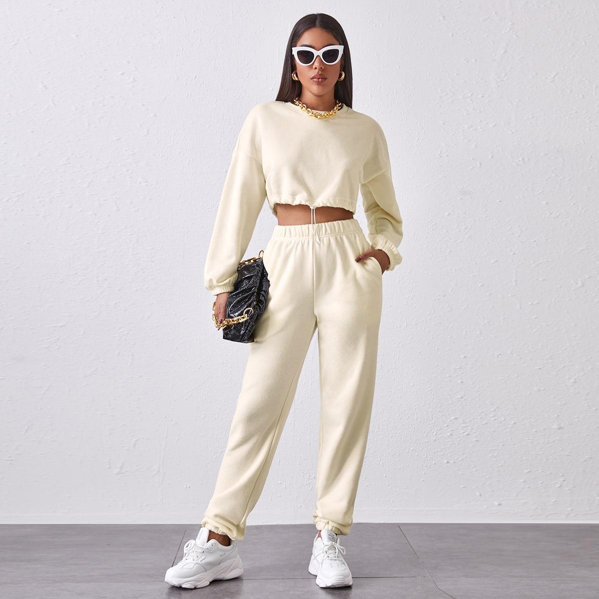 SHEIN / Drawstring Hem Drop Shoulder Pullover & Sweatpants Set
