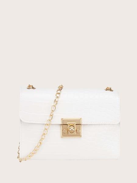 Faux Croc Leather Chain Crossbody Bag