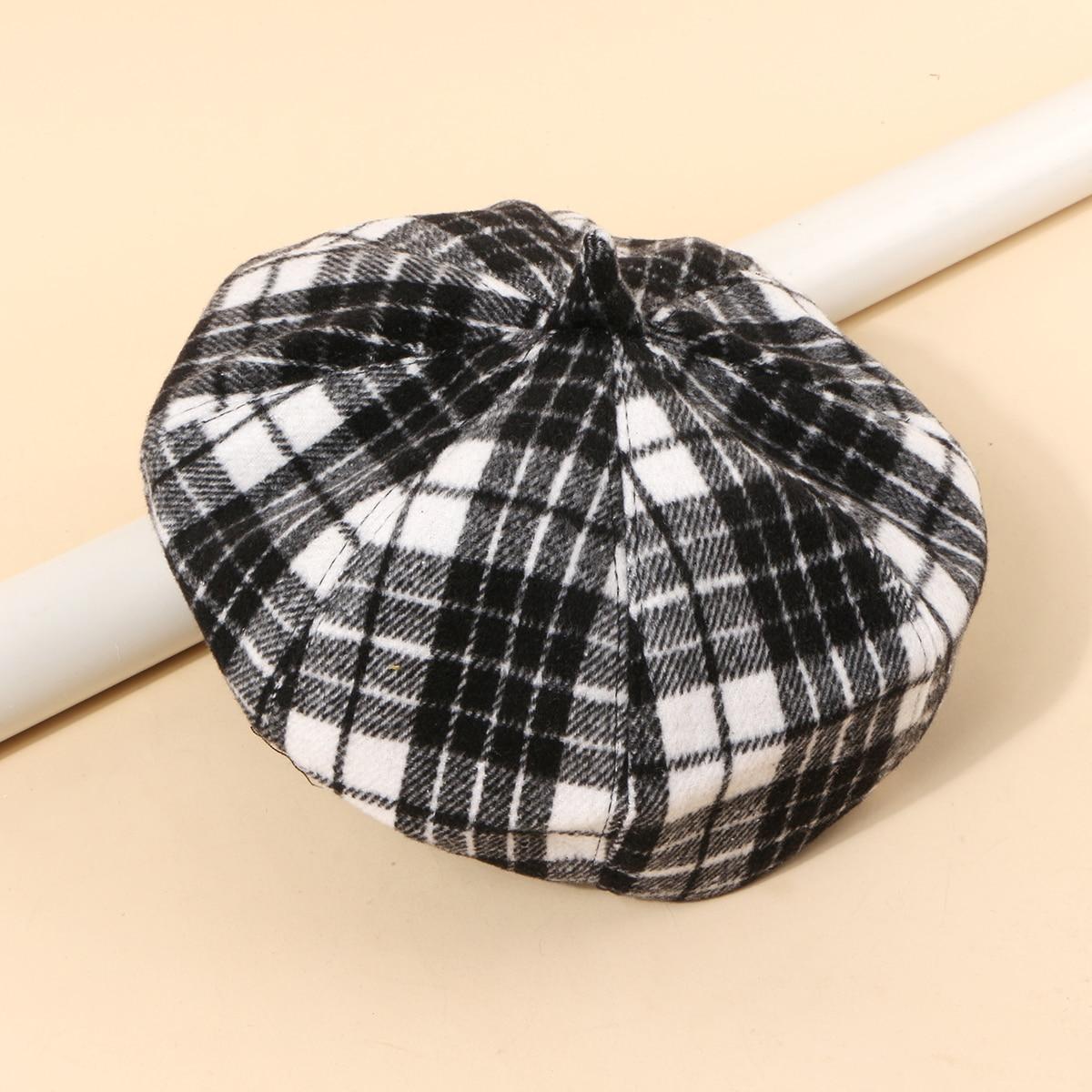 SHEIN / 1 Stück Baskenmützen mit Plaid Muster
