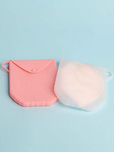 1pc Silicone Random Face Cover Storage Bag