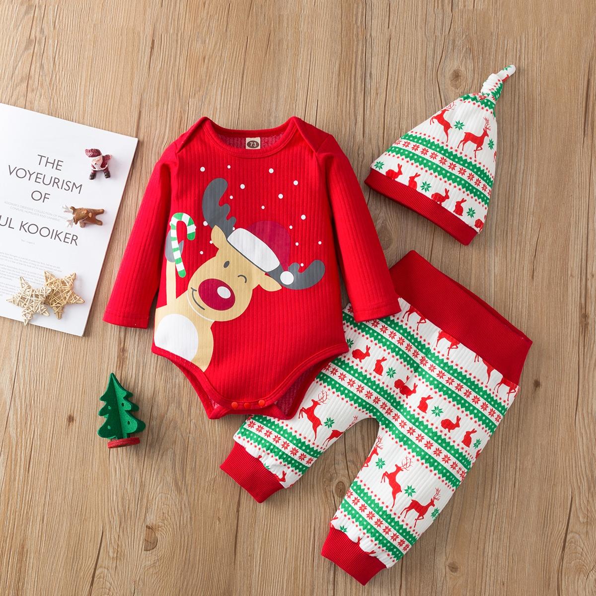 shein Casual Kerstmis Baby-setjes Knoop