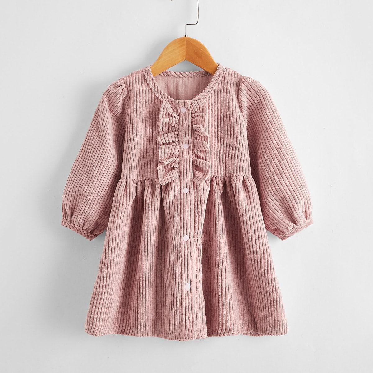shein Schattig Vlak Baby-jurk Rimpeling