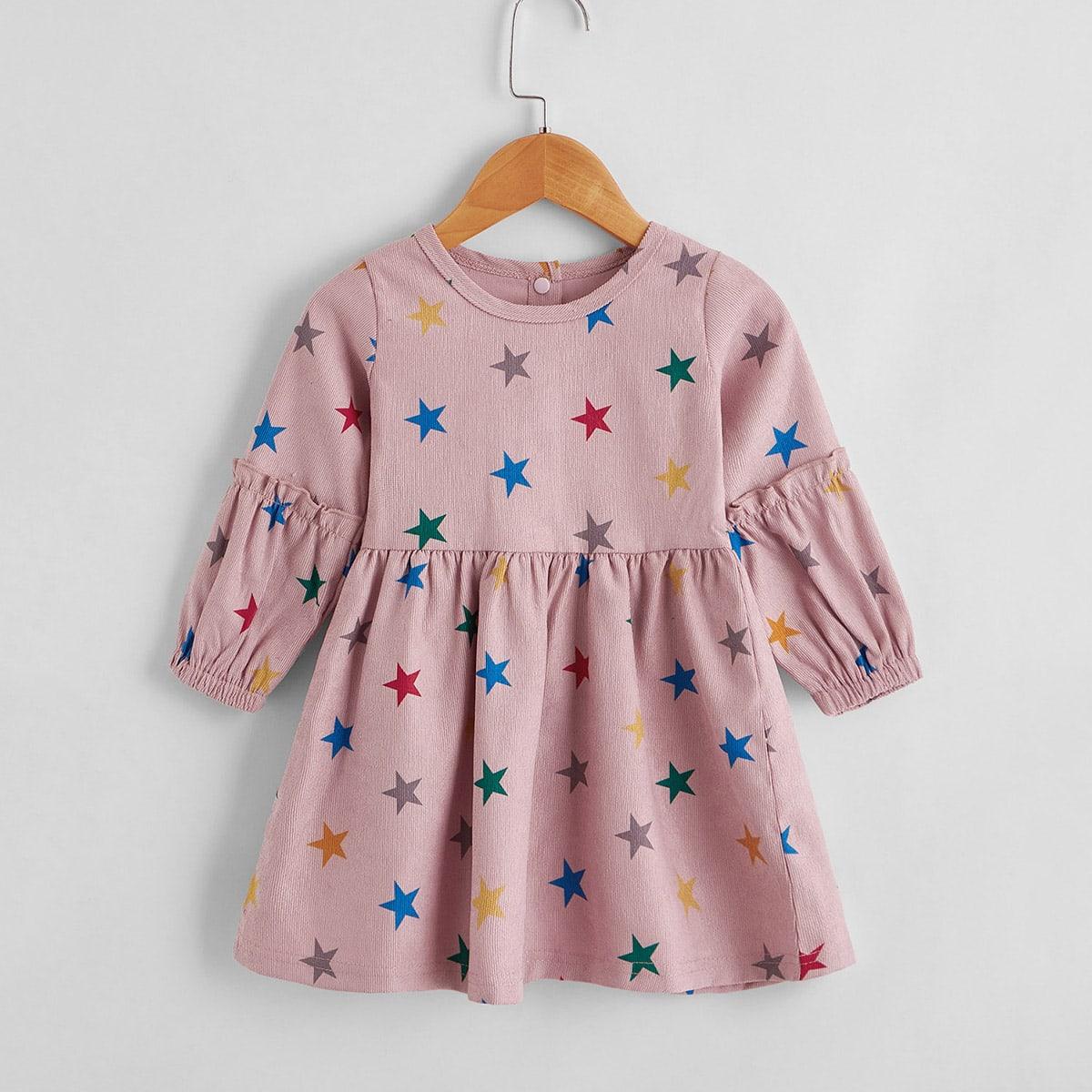 shein Schattig Geometrisch Baby-jurk Knoop