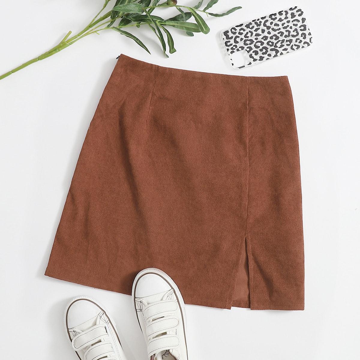SHEIN / Plus Zipper Side Split Hem Skirt