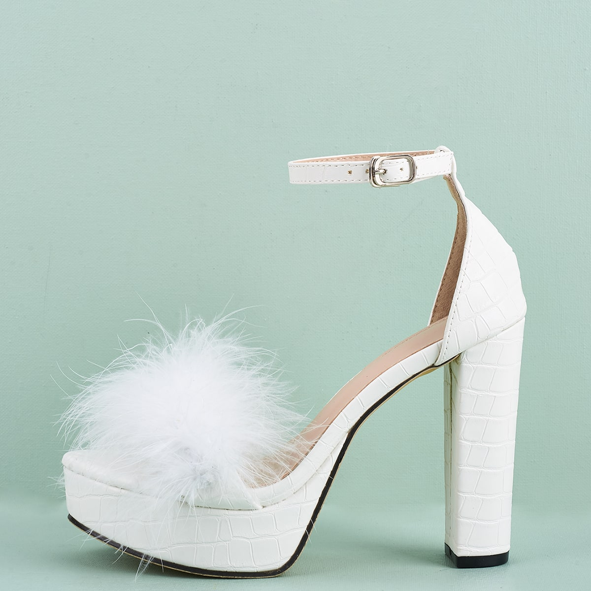 SHEIN / Faux Fur Decor Platform Chunky Heeled Sandals