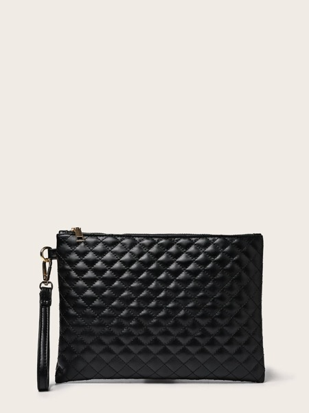 Quilted Clutch Bag With Wristlet