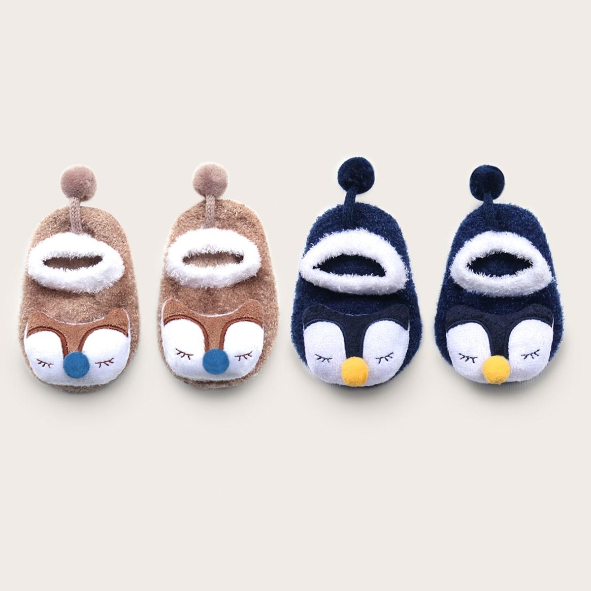 SHEIN / 2pairs Baby Cartoon Doll Socks