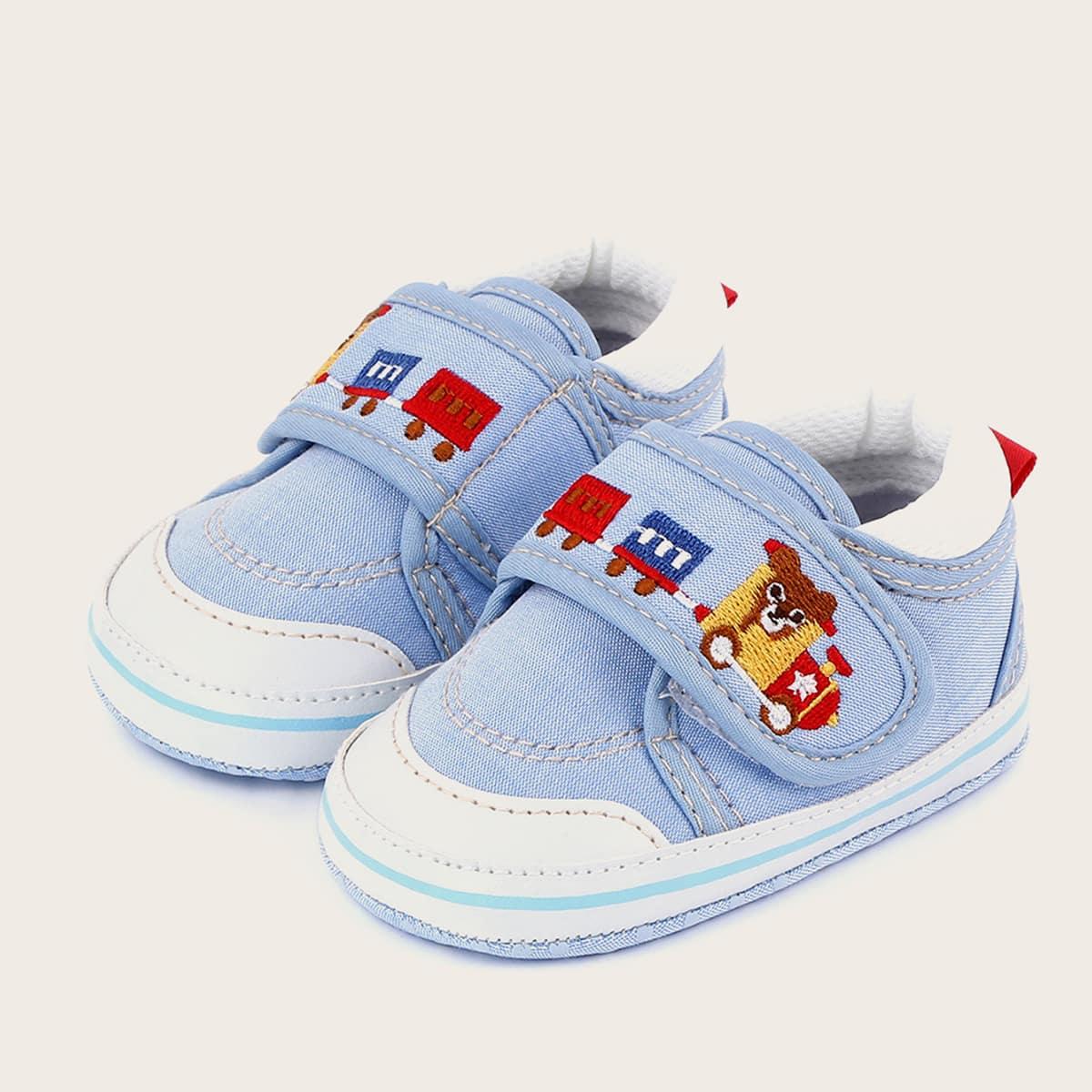 shein Cartoon geborduurde platte schoenen met klittenband voor babyjongen