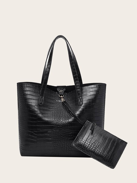 Croc Embossed Tote Bag With Purse