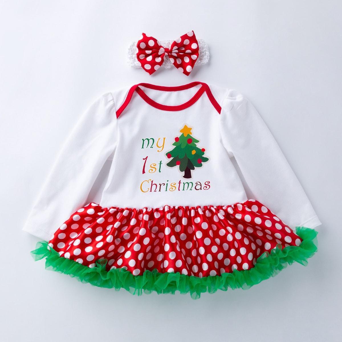 shein Betoverend Kerstmis Baby-jurk Contrast doorschijnend
