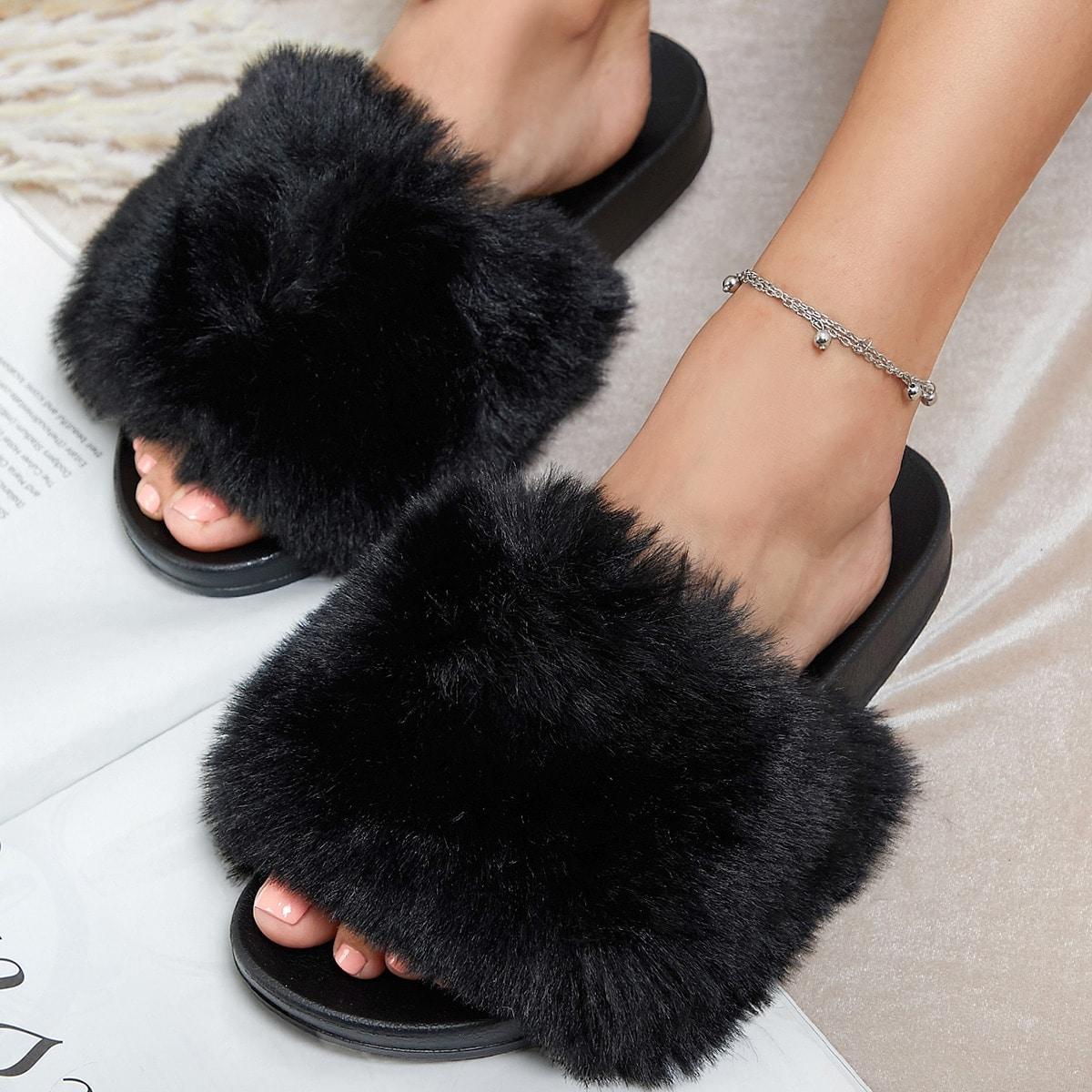 SHEIN / Fuzzy Faux Fur Vamp Slide Sandals