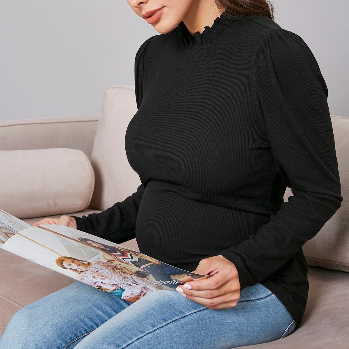 Однотонная футболка с воротником-стойкой для беременных от SHEIN