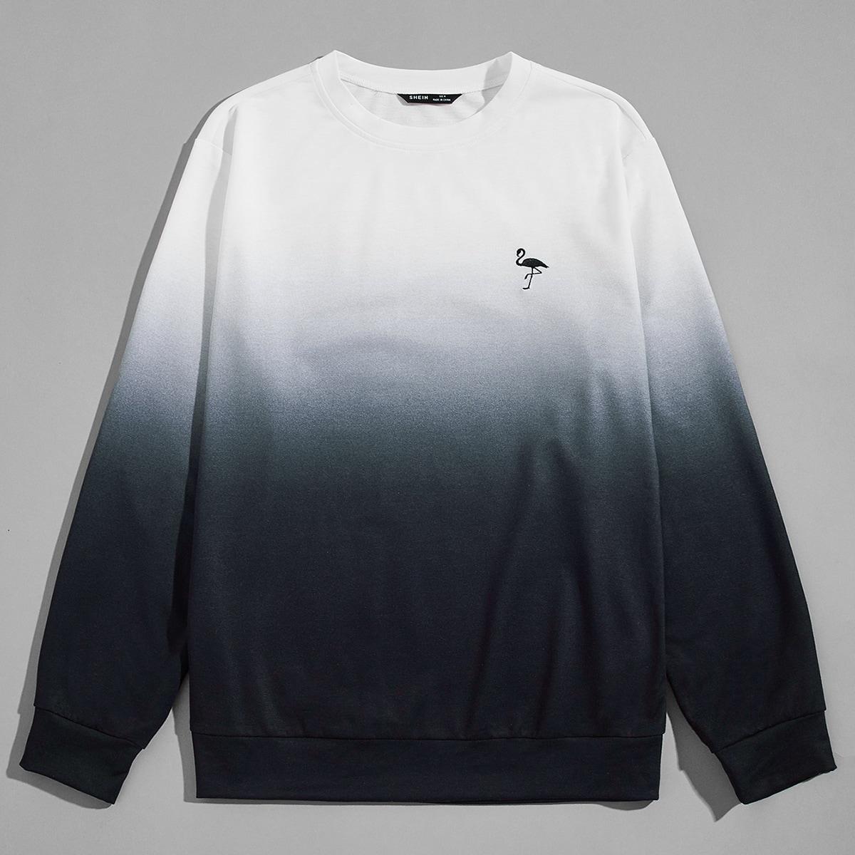 Мужской пуловер с вышивкой фламинго от SHEIN