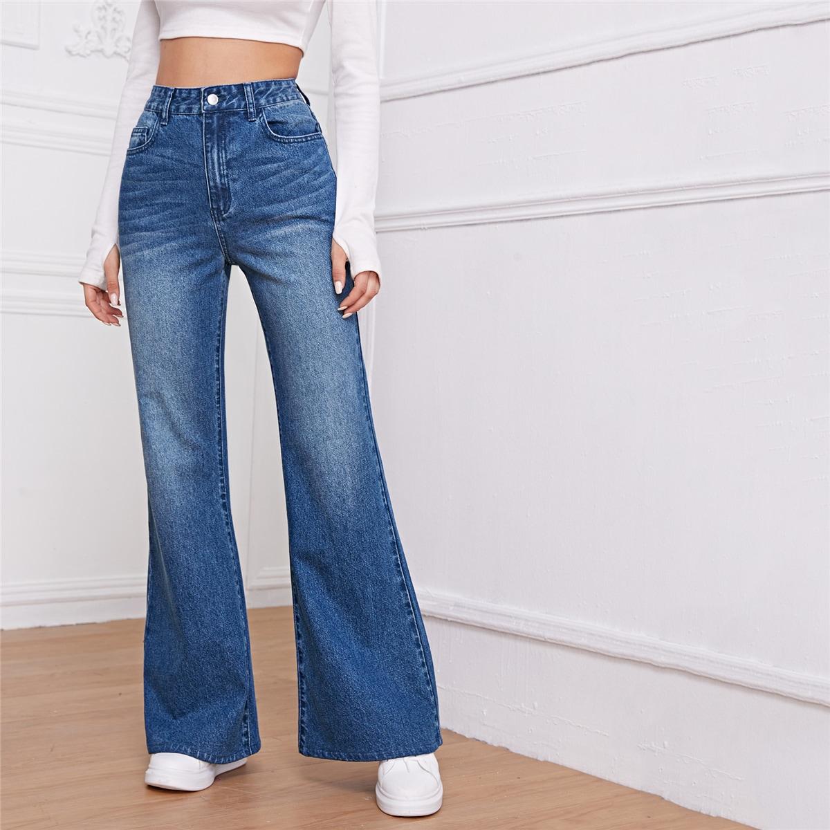 Широкие джинсы с высокой талией и карманом