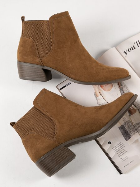 Faux Nubuck Pointed Toe Chelsea Ankle Boot