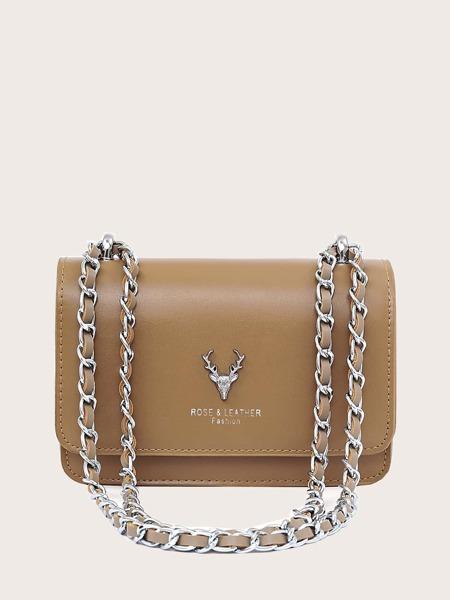 Deer Head Detail Chain Crossbody Bag