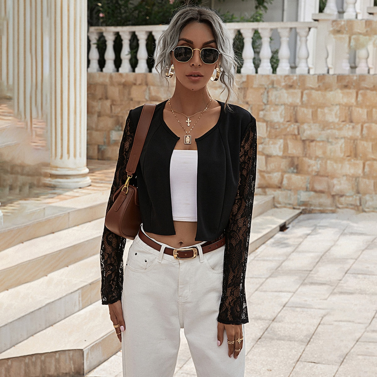 shein Casual Vlak Jas Contract kant