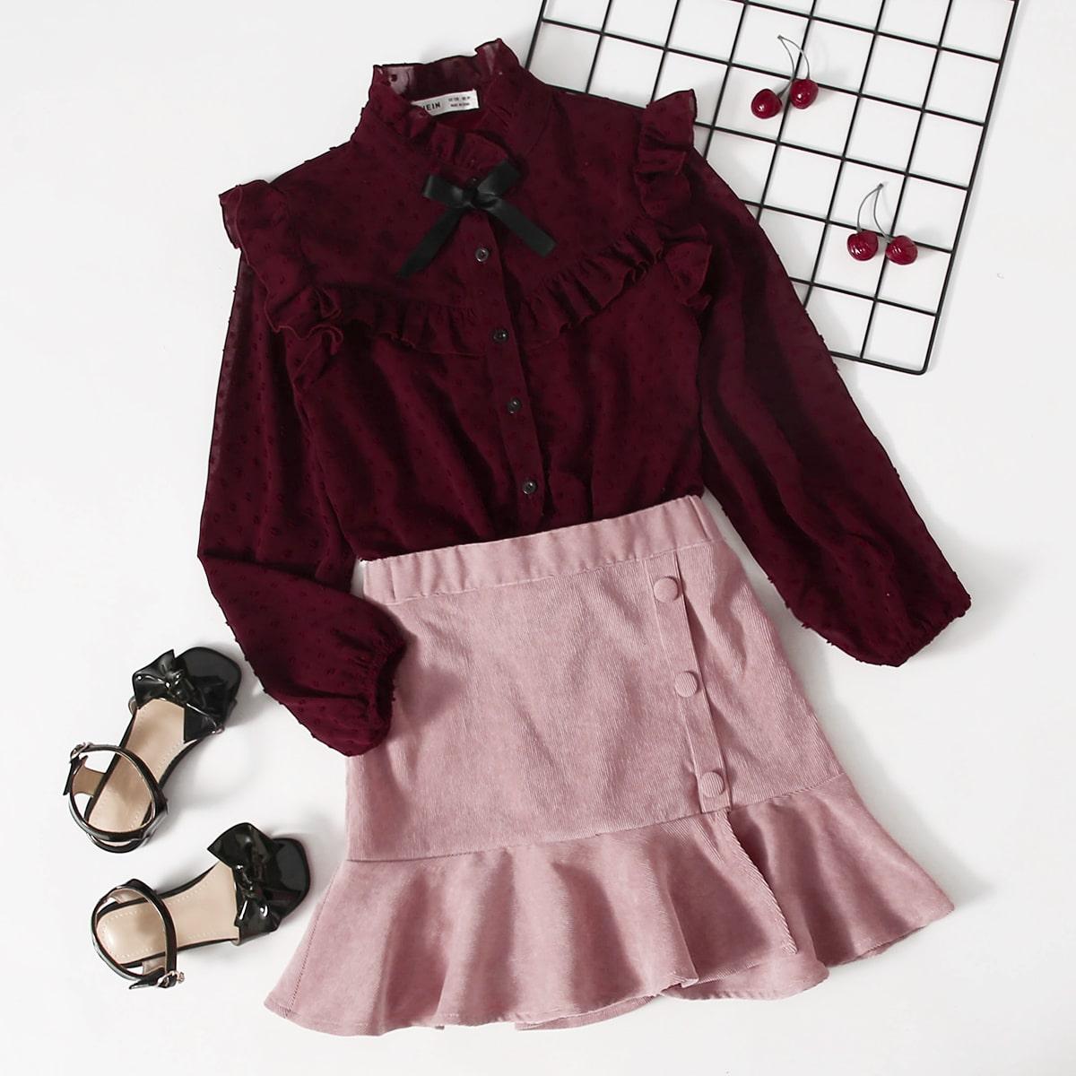 SHEIN / Bluse mit Knoten vorn, Punkten Muster und Kord Rock mit Schößchensaum