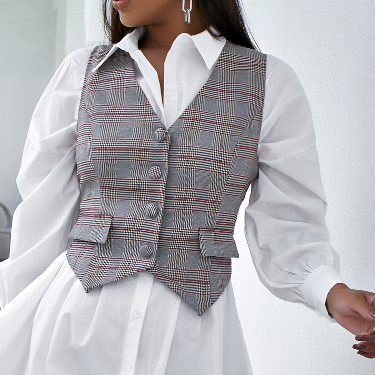 Жилет-пиджак с узором хаундстута и пуговицами от SHEIN