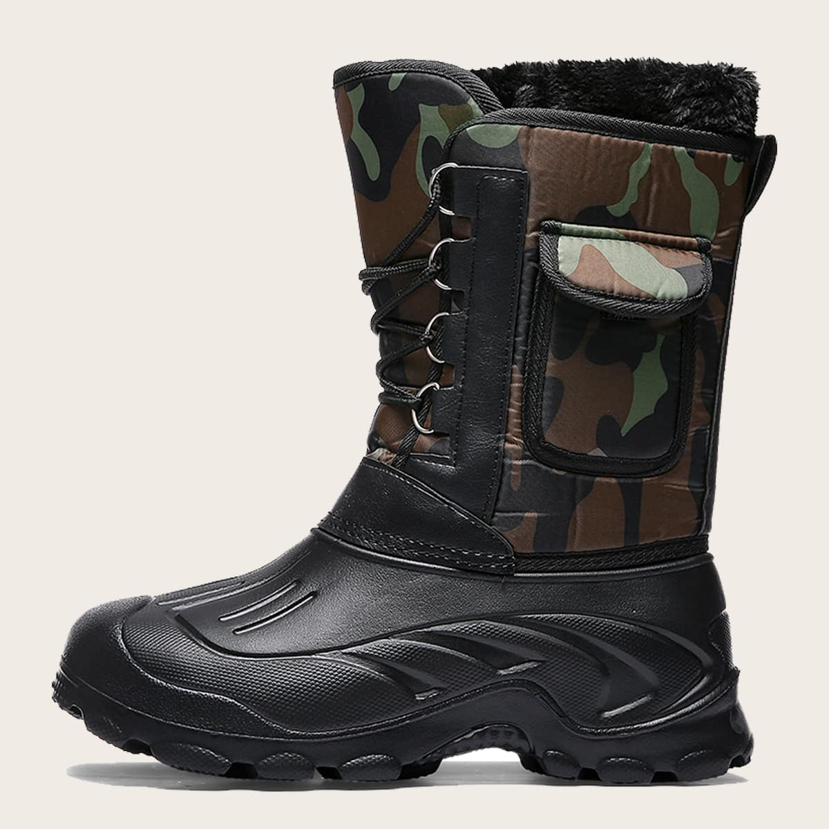 shein Laarzen verfraaid met veter voor heren met camouflagepatroon en zak