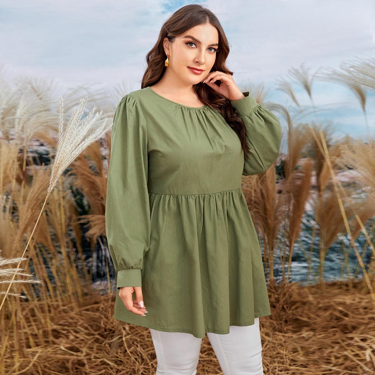 SHEIN / Bluse mit Puffärmeln, Knöpfen hinten und Rüschenbesatz