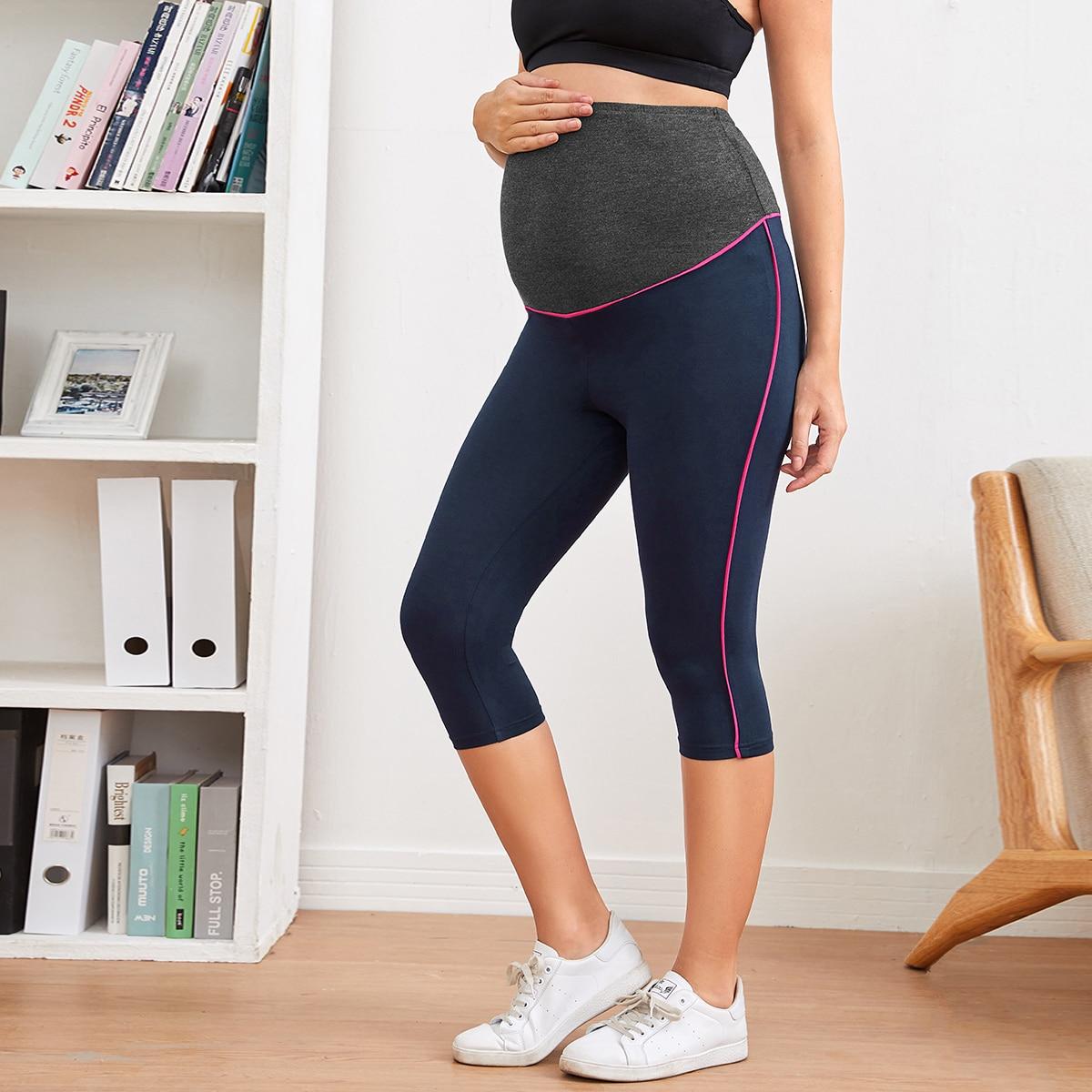 Леггинсы для беременных с контрастной отделкой